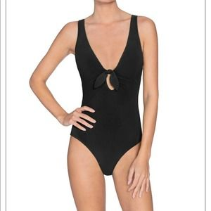 Robin Piccone NEW Tie Front Plunge Underwire Suit
